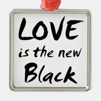 Love is the New Black Silver-Colored Square Ornament