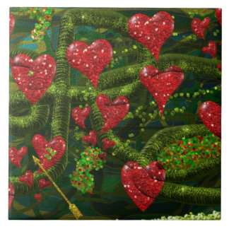 Love is Weird - Red Hearts on Strange Abstract Tiles