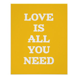 Love Is- Yellow Inspirational Quote Poster