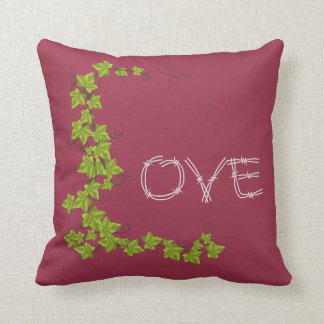 Love ivy Green white Throw pillow red raspberry