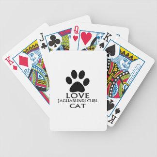 LOVE JAGUARUNDI CURL CAT DESIGNS BICYCLE PLAYING CARDS