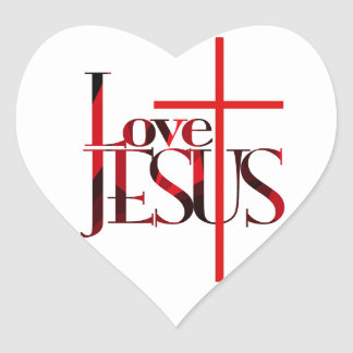 Love Jesus and The Cross. Heart Sticker