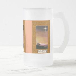 Love, Joy, peace 16 Oz Frosted Glass Beer Mug