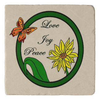 Love, Joy, Peace Butterfly and Sunflower Trivet