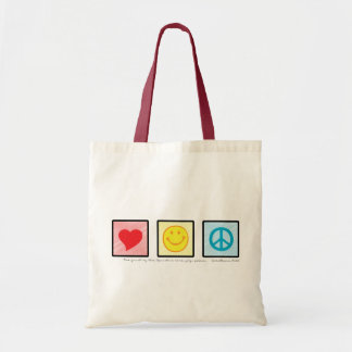Love Joy Peace cloth tote bag