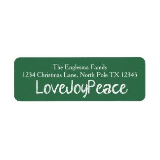 Love Joy Peace Green Address Labels