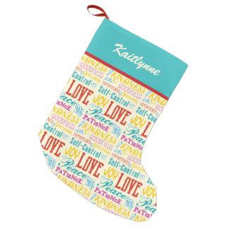 Love Joy Peace Kindness Goodness Typography Art Small Christmas Stocking