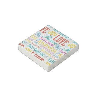 Love Joy Peace Kindness Goodness Typography Art Stone Magnets