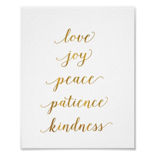 love, joy, peace, patience, kindness - art print