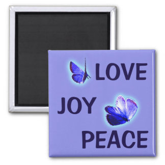 Love Joy Peace Purple Butterflies Square Magnet