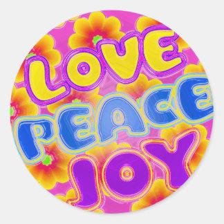 Love, Joy, Peace Round Sticker