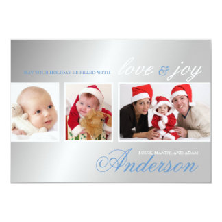 Love & Joy Tri-Photo Holiday Photo Card