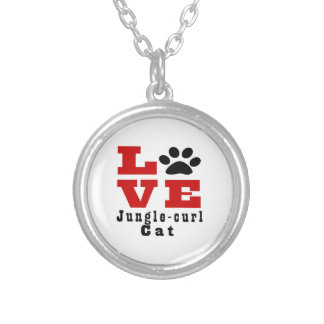 Love Jungle-curl Cat Designes Silver Plated Necklace