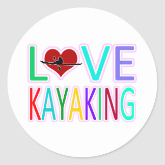 Love Kayaking Round Sticker