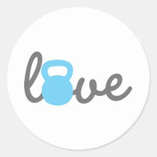 Love Kettlebell Blue Classic Round Sticker