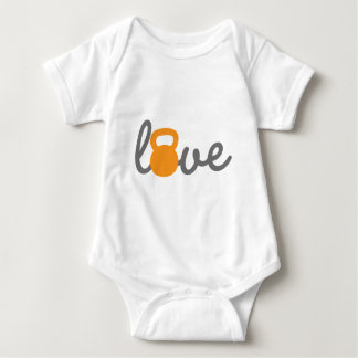 Love Kettlebell Orange Baby Bodysuit