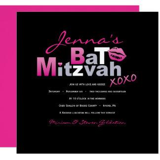 LOVE & KISSES HOT PINK Bat Mitzvah Invitation