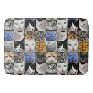 Love Kitties Cat Faces Collage Bath Mat
