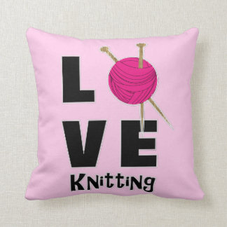 Love Knitting Wool And Needles Novelty Throw Pillow