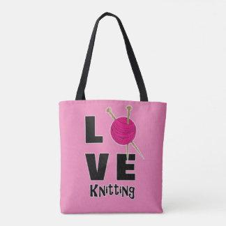 Love Knitting Wool And Needles Novelty Tote Bag