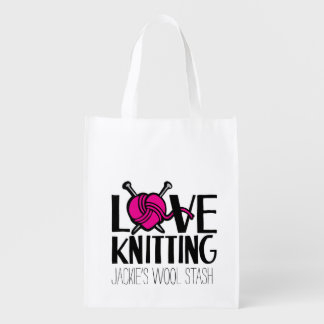 Love knitting wool stash bag