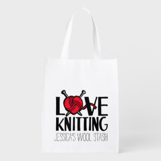 Love knitting wool stash red bag