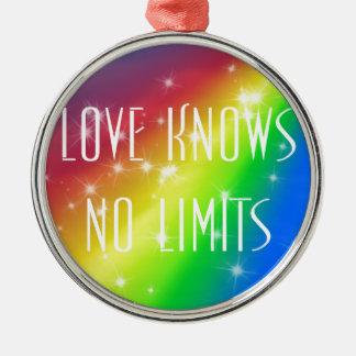 Love Knows No Limits Silver-Colored Round Ornament