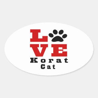 Love Korat Cat Designes Oval Sticker