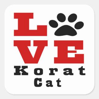 Love Korat Cat Designes Square Sticker