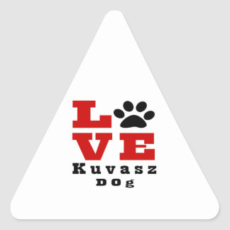 Love Kuvasz Dog Designes Triangle Sticker