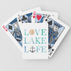 Love Lake Life Nautical Watercolor Typography Bicycle Playing Cards