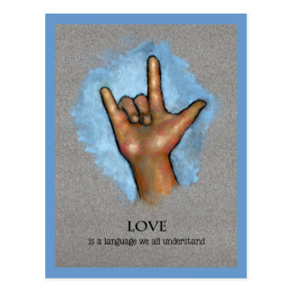 Love Language: American Sign Language: Art Postcard