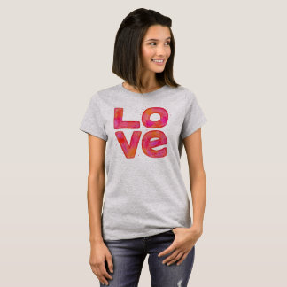 LOVE large blocky watercolor stacked letter shirt