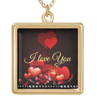 Love - Large gold finish necklace