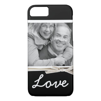 LOVE Large Photo with Faux Velvet Ribbon iPhone 7 Case