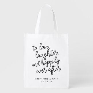 Love, Laughter & Happily Ever After Wedding Favor Reusable Grocery Bags