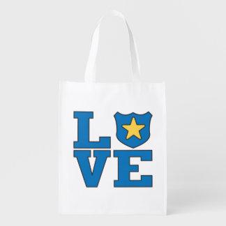 Love Law Enforcement Reusable Grocery Bag