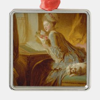 Love letter Silver-Colored square ornament