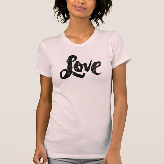 LOVE Lettering Distressed Pink Valentine T-Shirt