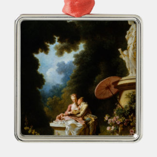 Love Letters by Jean Honore Fragonard Silver-Colored Square Ornament