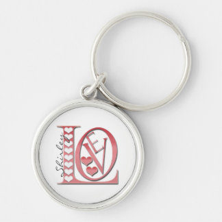 Love Letters With Hearts by Shirley Taylor Keychain