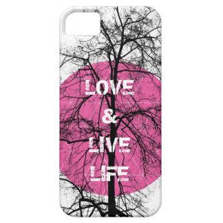 Love life happy pink tree graphic art iPhone 5 cases