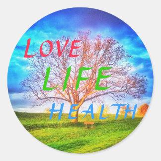 LOVE LIFE HEALTH TREE large round sticker