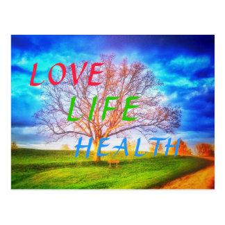 LOVE LIFE HEALTH TREE POSTCARD