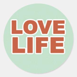 Love Life in Orange Text Round Sticker