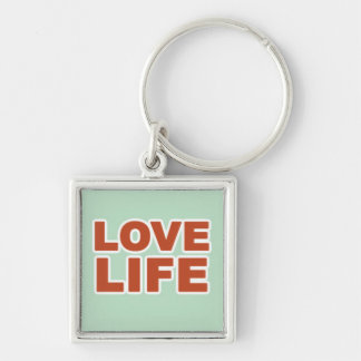 Love Life in Orange Text Silver-Colored Square Keychain