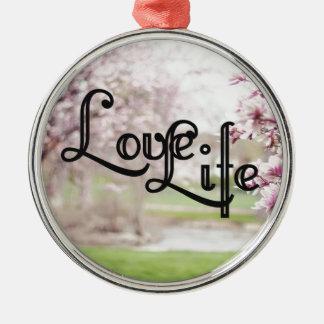 Love Life Silver-Colored Round Ornament