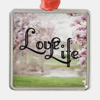 Love Life Silver-Colored Square Ornament
