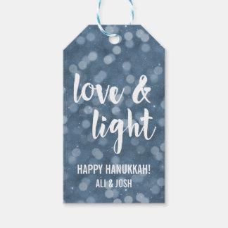 Love & Light | Blue Bokeh Hanukkah Pack Of Gift Tags