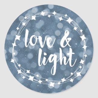 Love & Light Bokeh Hanukkah Classic Round Sticker